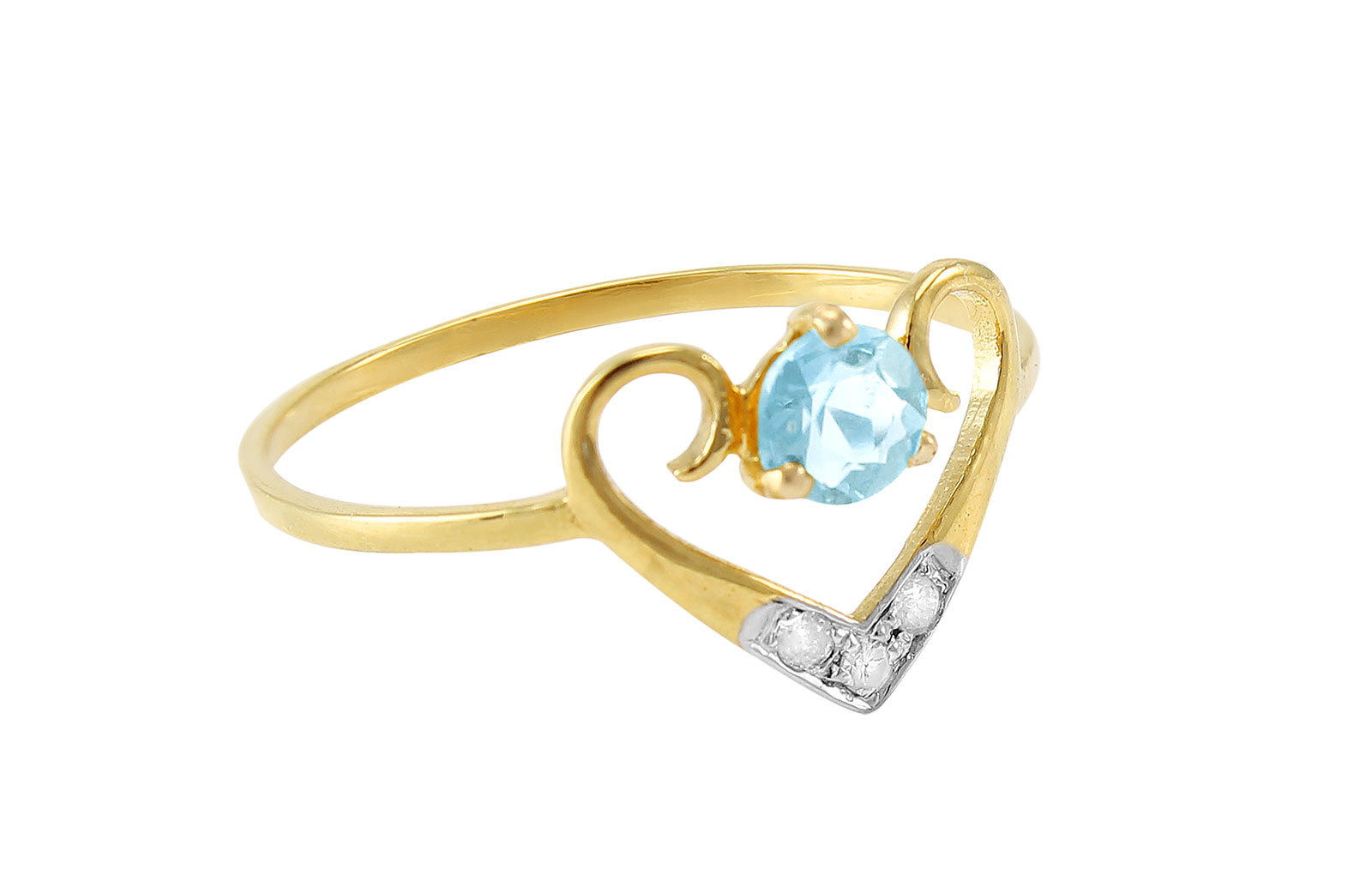 VP Jewels: 18K Solid Yellow Gold 0.03CT Genuine Diamonds  and 4mm Swiss Blue Topaz  Heart Ring -SIZE 6 US