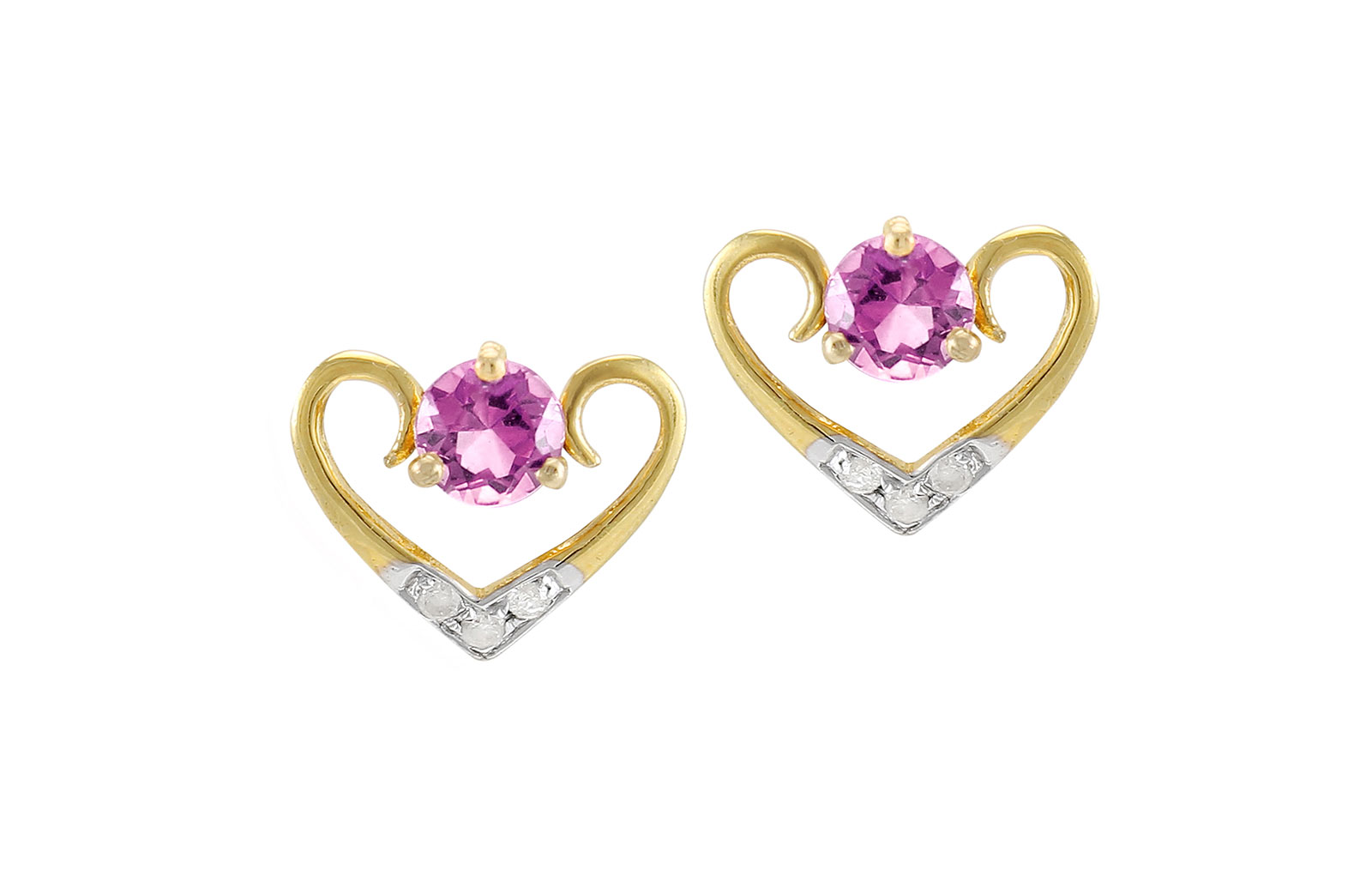 VP Jewels: 18K Solid Yellow Gold 0.06CT Genuine Diamonds  and 4mm Amethyst    Heart Earrings
