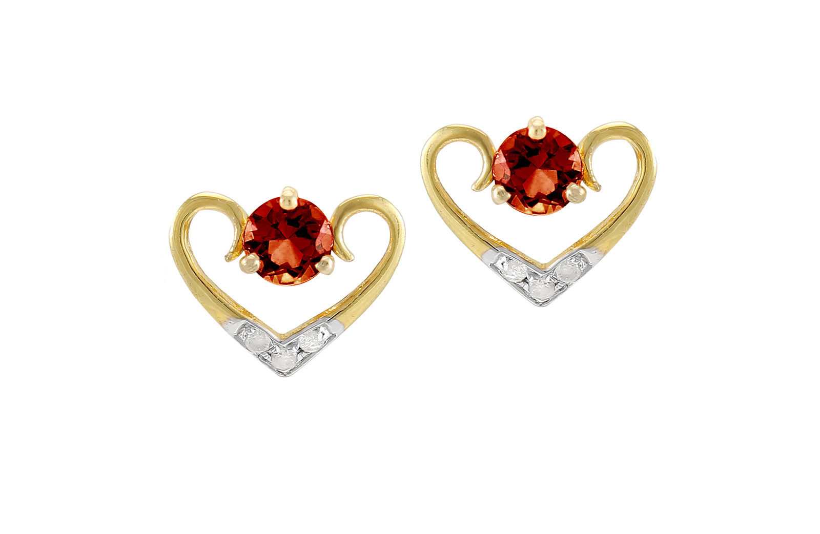 VP Jewels: 18K Solid Yellow Gold 0.06CT Genuine Diamonds  and 4mm Garnet   Heart Earrings