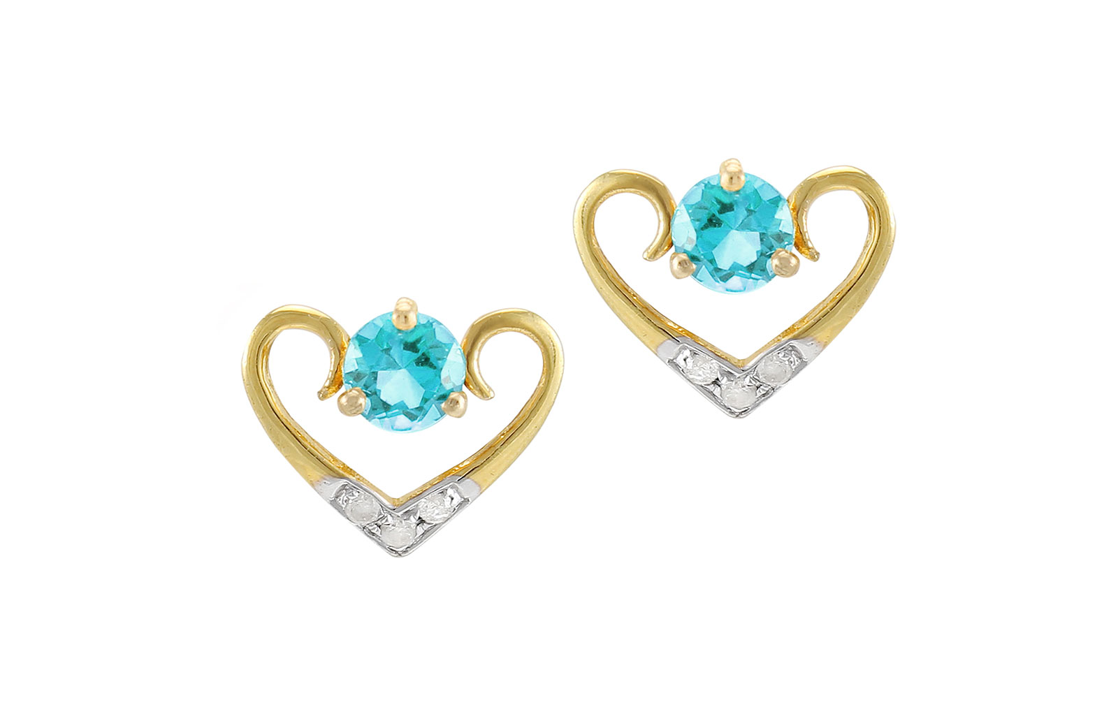VP Jewels: 18K Solid Yellow Gold 0.06CT Genuine Diamonds  and 4mm Swiss Blue Topaz   Heart Earrings