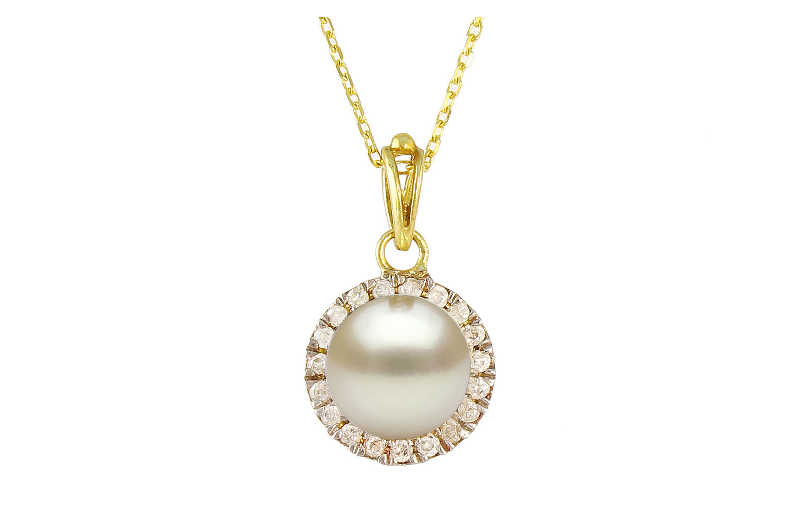 VP Jewels: 18K Solid Yellow Gold 0.10CT Genuine Diamonds  and 6mm Genuine Pearl Necklace