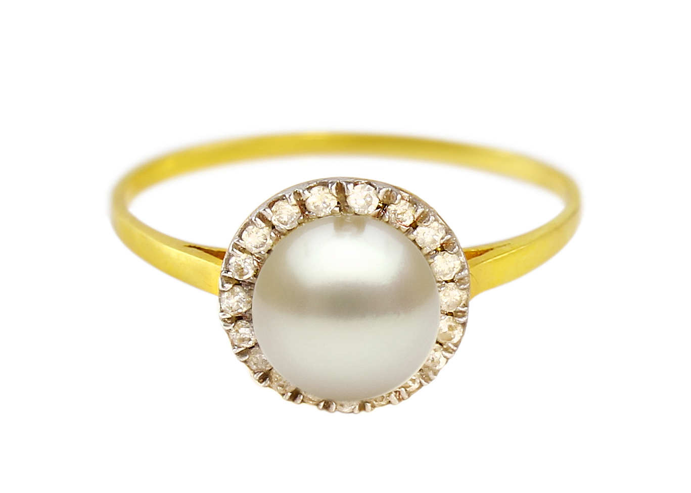 VP Jewels: 18K Solid Yellow Gold 0.10CT Genuine Diamonds  and 6mm Genuine Pearl Ring -SIZE 6 US