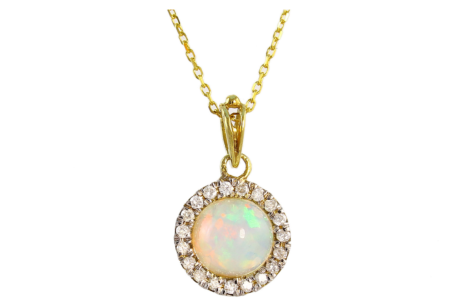 VP Jewels: 18K Solid Yellow Gold 0.10CT Genuine Diamonds  and 6mm Opal  Round Cabochon Cut Necklace
