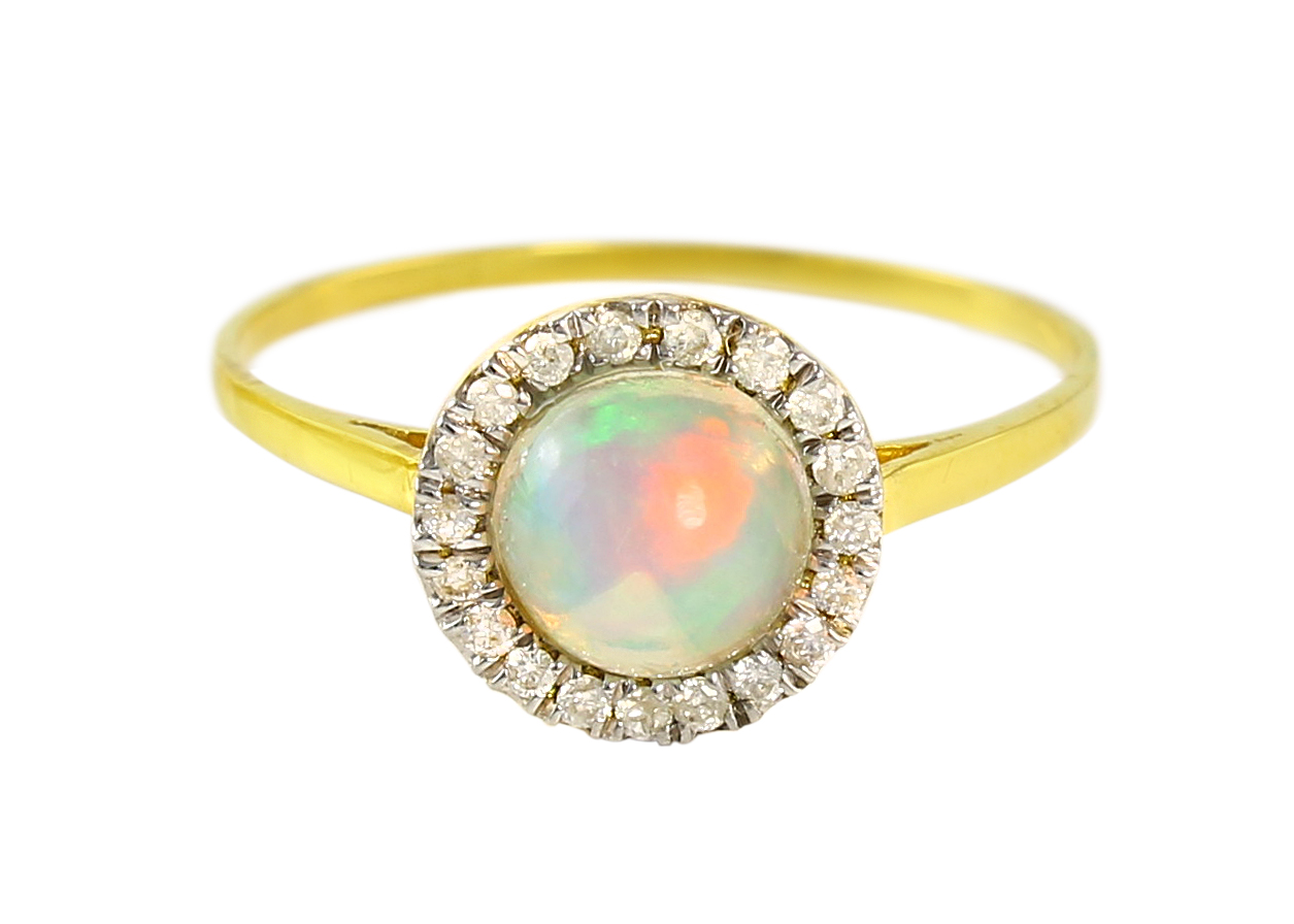 VP Jewels: 18K Solid Yellow Gold 0.10CT Genuine Diamonds and 6mm Opal  Round Cabochon Cut Ring -SIZE 6 US