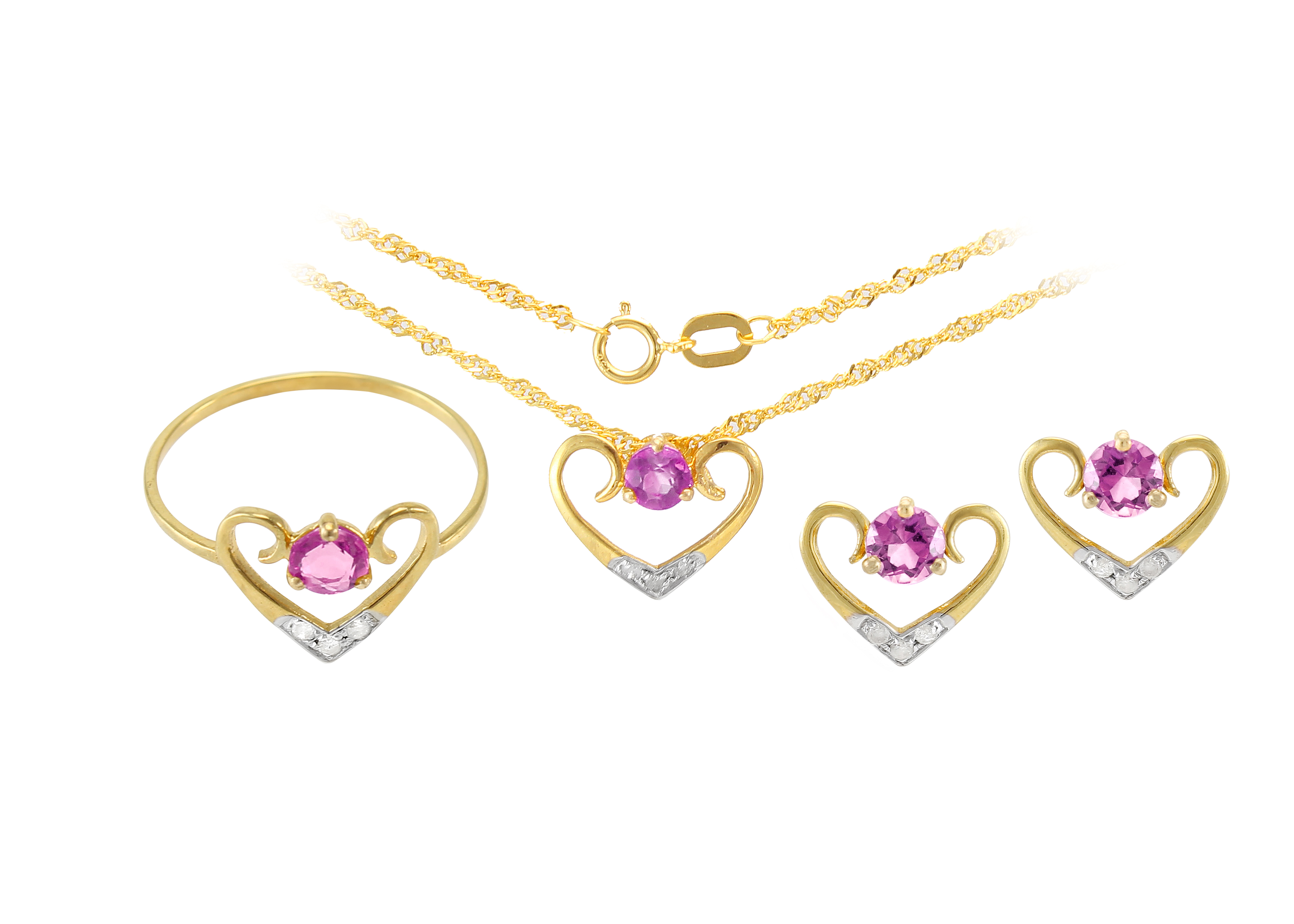VP Jewels: 18K Solid Yellow Gold 0.12CT Genuine Diamonds  and 4mm Amethyst   Heart Jewelry Set