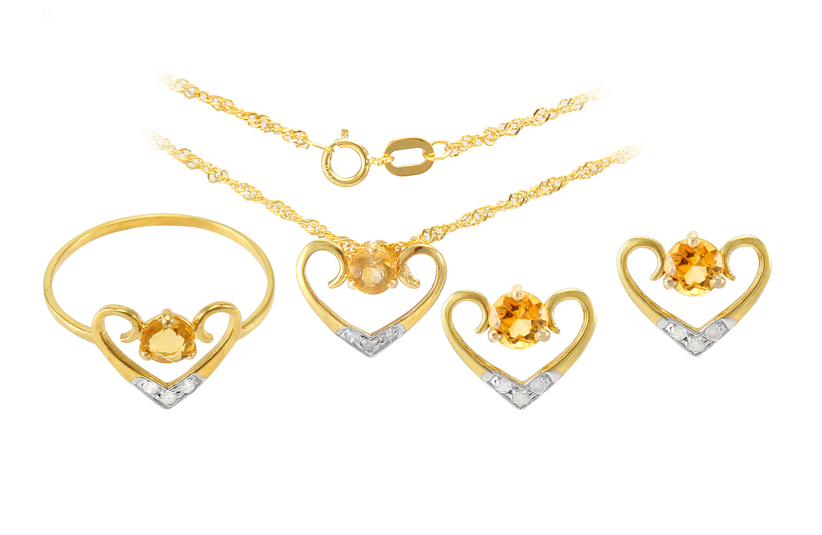 VP Jewels: 18K Solid Yellow Gold 0.12CT Genuine Diamonds  and 4mm Citrine   Heart Jewelry Set