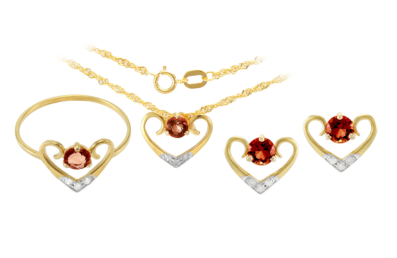 VP Jewels: 18K Solid Yellow Gold 0.12CT Genuine Diamonds  and 4mm Garnet   Heart Jewelry Set