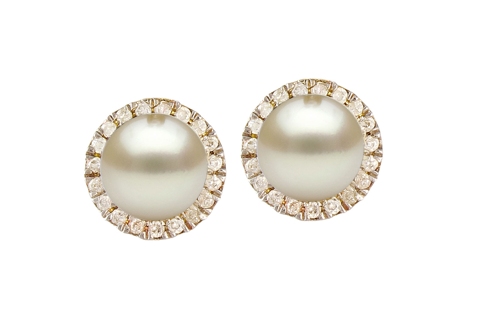 VP Jewels: 18K Solid Yellow Gold 0.20CT Genuine Diamonds  and 6mm Genuine Pearl Earrings