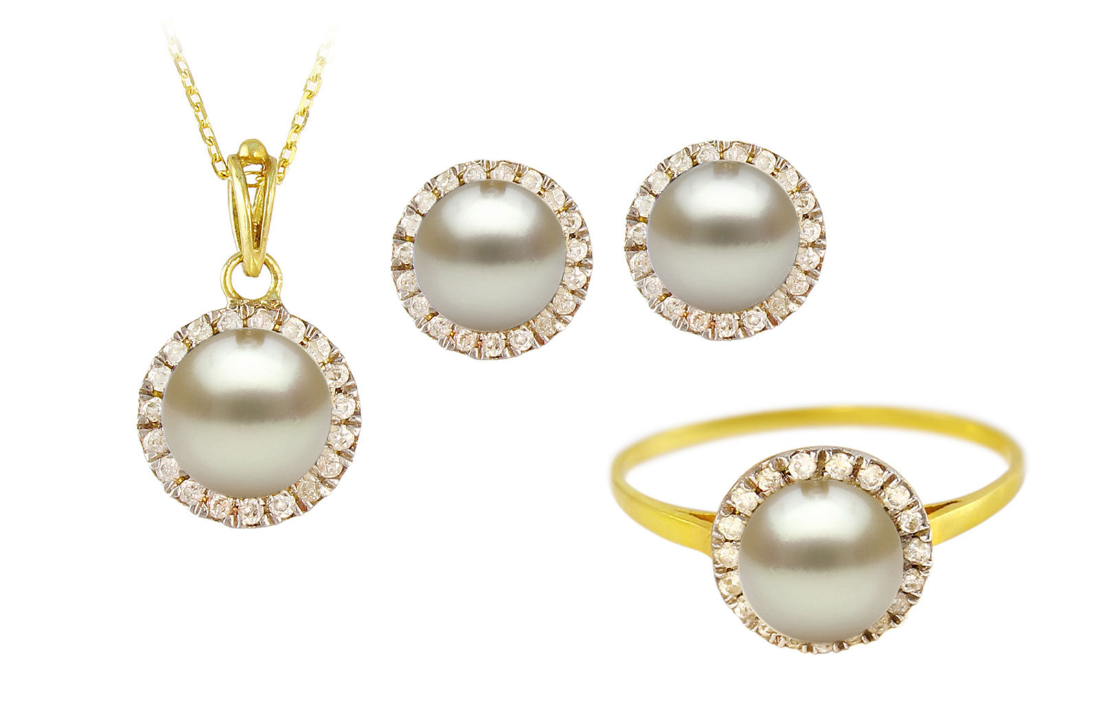 VP Jewels: 18K Solid Yellow Gold 0.40CT Genuine Diamonds  and 6mm Genuine Pearl Jewelry Set