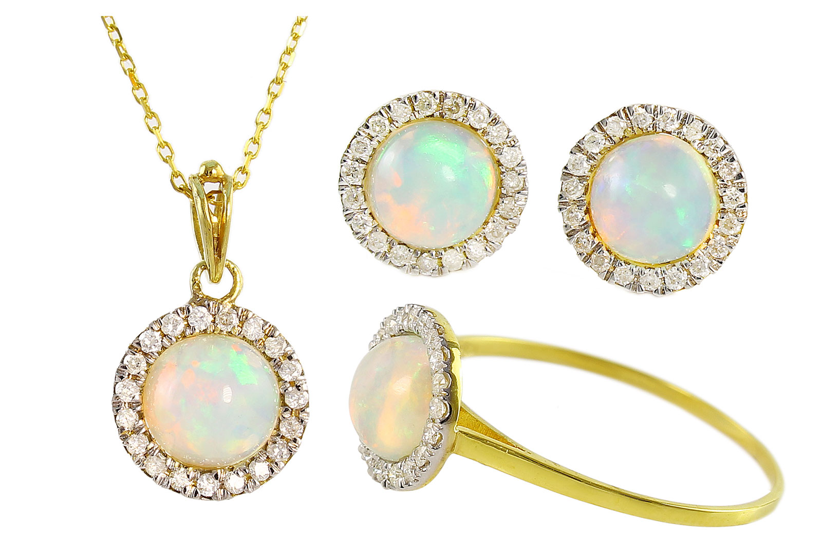 VP Jewels: 18K Solid Yellow Gold 0.40CT Genuine Diamonds  and 6mm Round Cabochon Cut Opals Jewelry Set