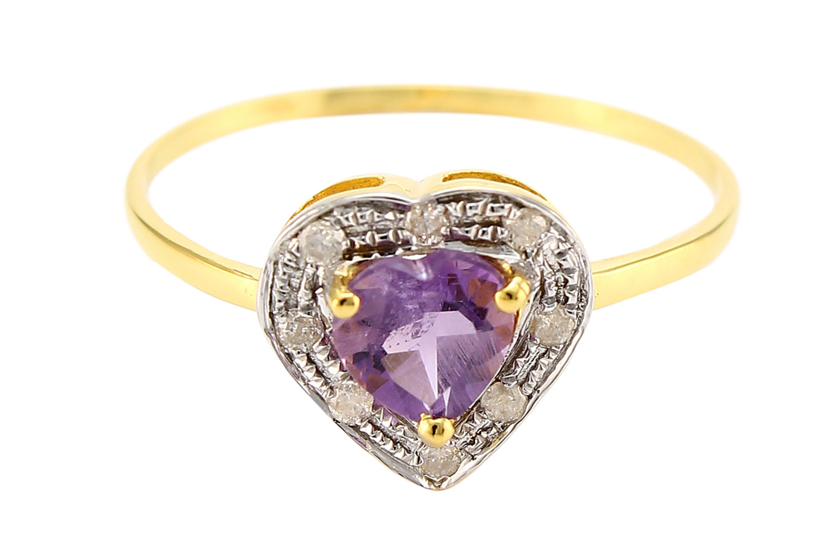 VP Jewels 18K Solid Yellow Gold 0.6CT Genuine Heart Cut Amethyst 0.08ct Genuine Diamonds Ring - 6.5 US