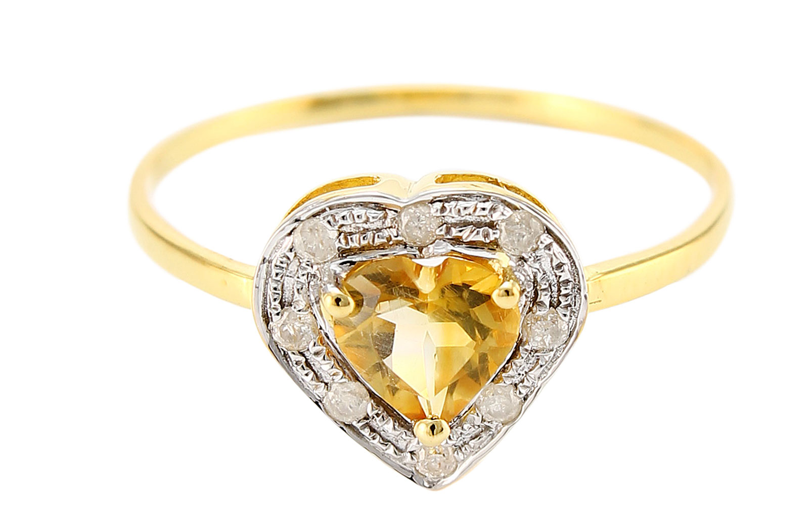 VP Jewels 18K Solid Yellow Gold 0.6CT Genuine Heart Cut Citrine 0.08ct Genuine Diamonds Ring - 6.5 US