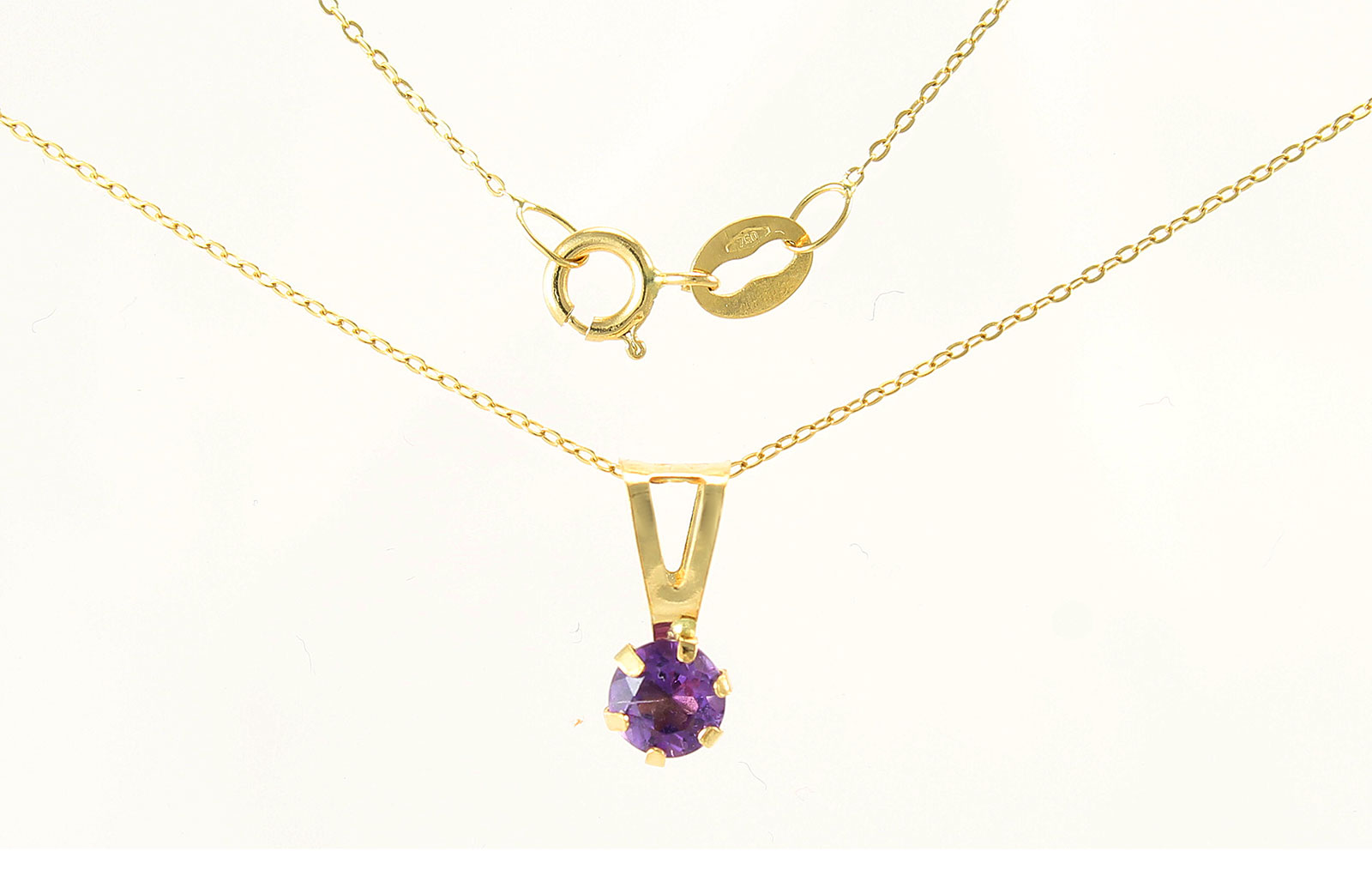 VP Jewels: 4mm Genuine Amethyst Solitaire Pendant + Chain