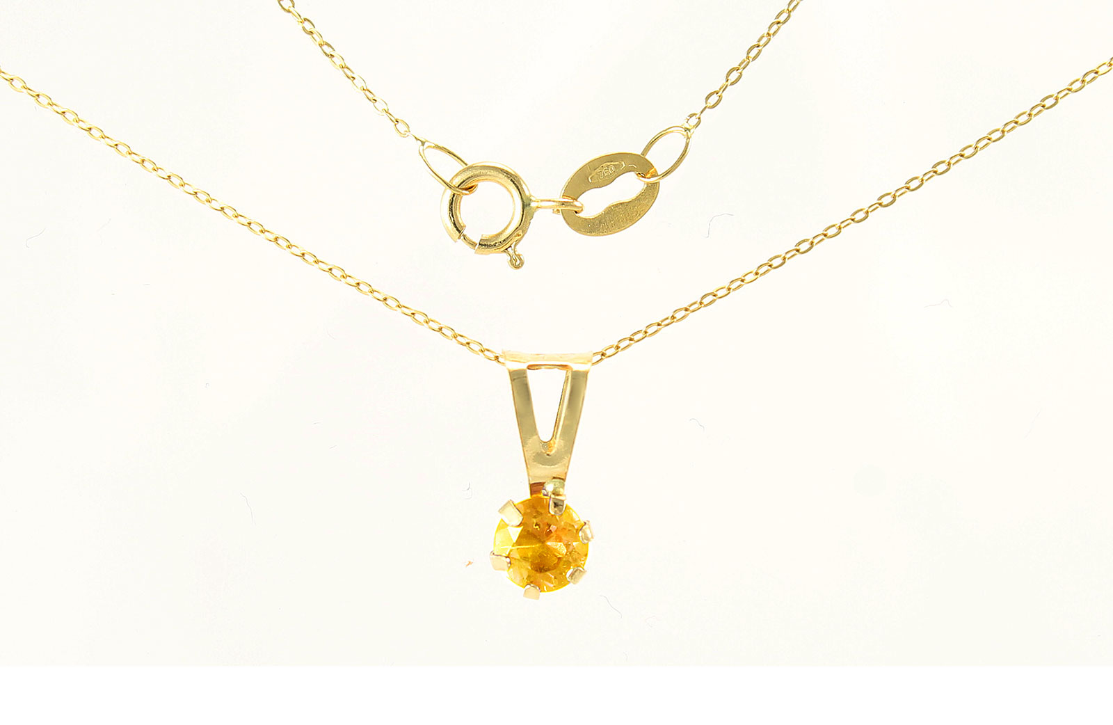 VP Jewels: 4mm Genuine Citrine Solitaire Pendant + Chain