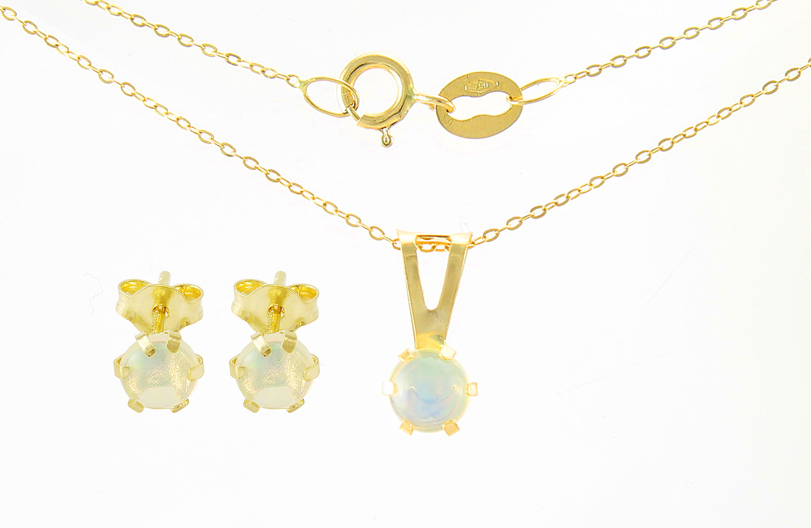 VP Jewels: 4mm Genuine Opal  Solitaire Necklace and Earrings Set