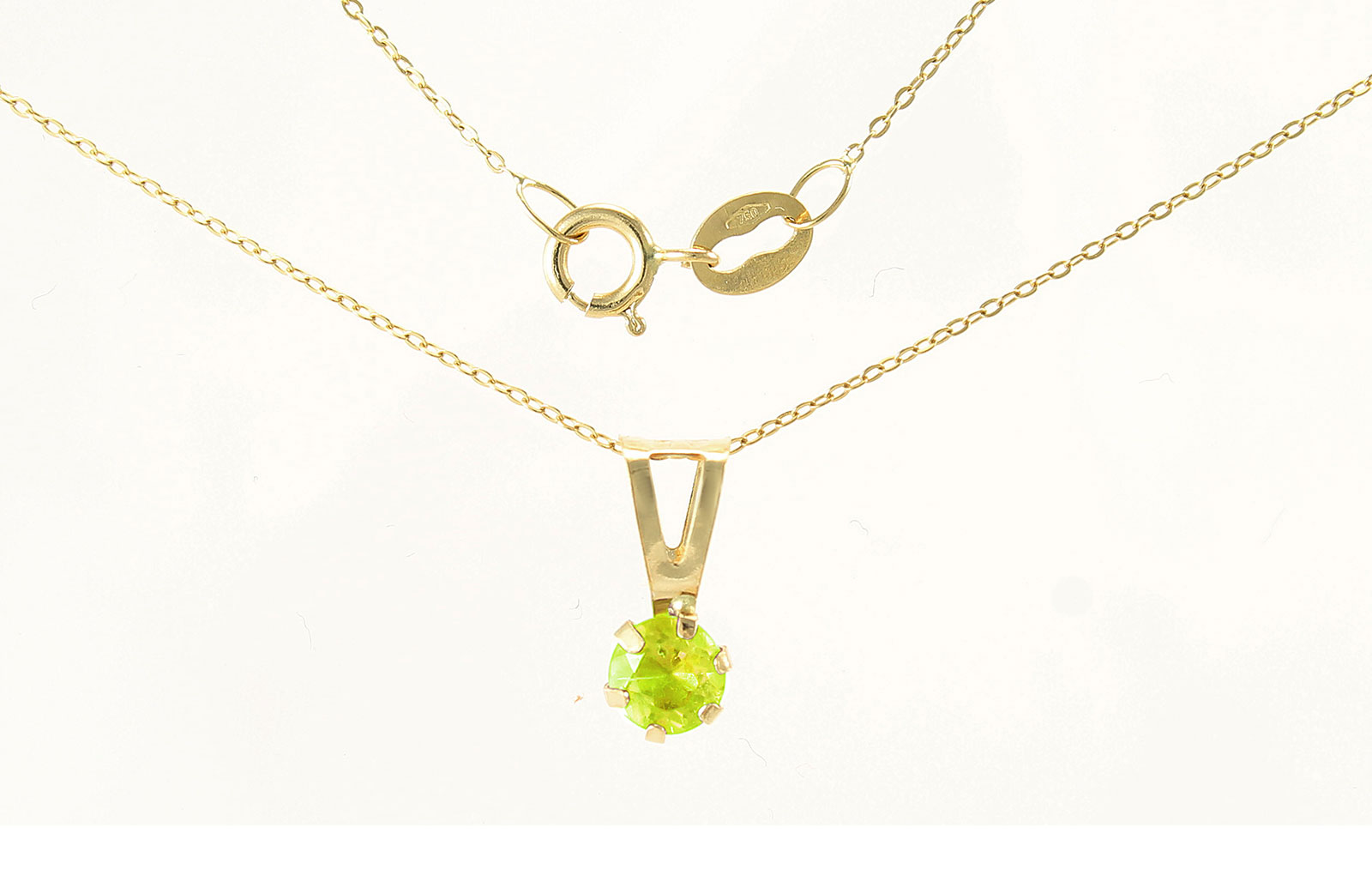 VP Jewels: 4mm Genuine Peridot Solitaire Pendant + Chain